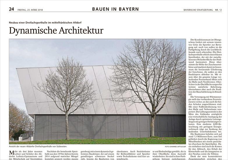 Bayerische staatszeitung dynamische architektur neubau sporthalle altdorf - Dynamische architektur ...